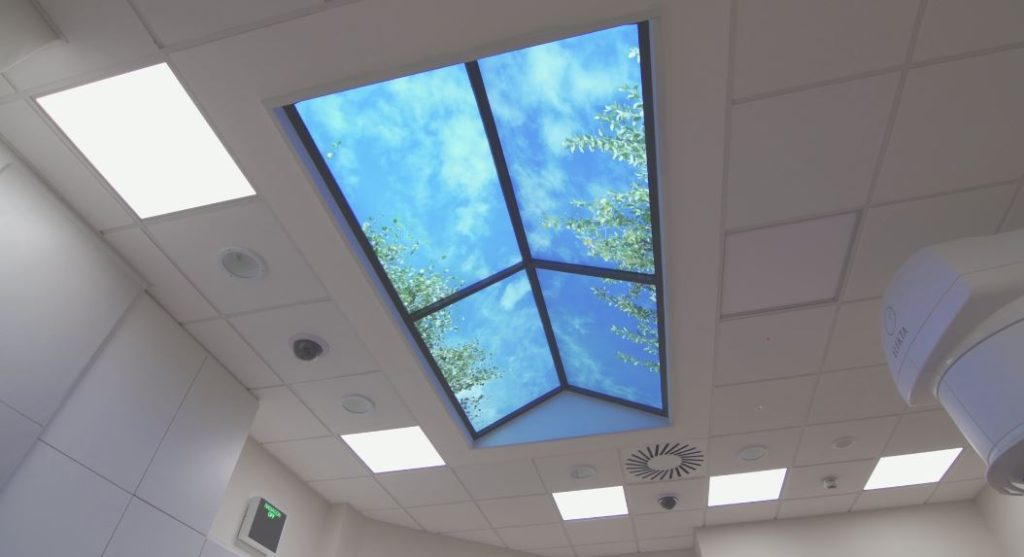 Artificial sky ceiling panels