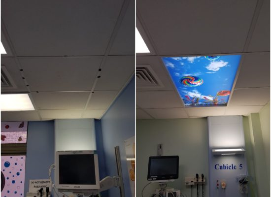 Collage of before and after Sky Inside installation