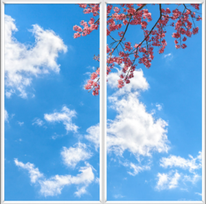 Blue sky, clouds and pink flowers design for artificial skylight uk