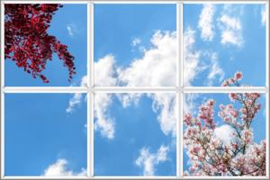 Faux sky window panels to improve windowless room
