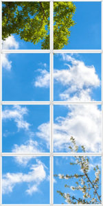 Cloud scene LED panels for ceiling to imitate a skylight