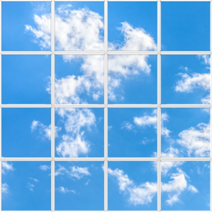 Large cloud sky ceiling to improve a dark interior office or space