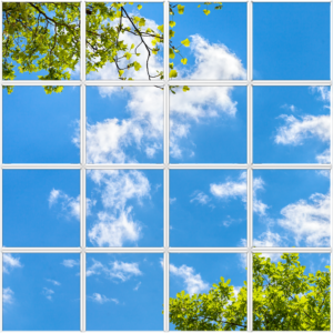 Artificial sky ceiling tiles with wispy clouds and green leaves