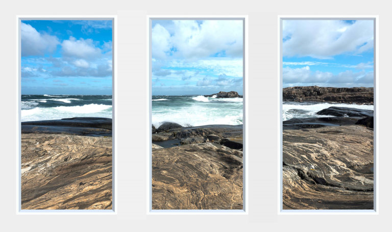 Three window panels with a sea and rocks design