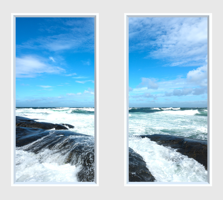 Double artificial window design on the sea with crashing waves on rocks