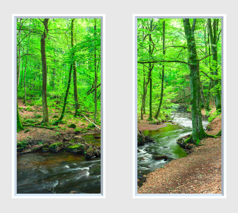 Two fake windows with forest imagery of bright green leaves and a rushing stream