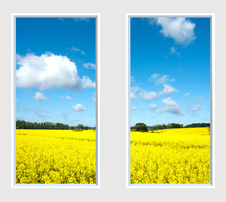 Windowless office idea of fake windows with bright yellow fields and blue skies with clouds