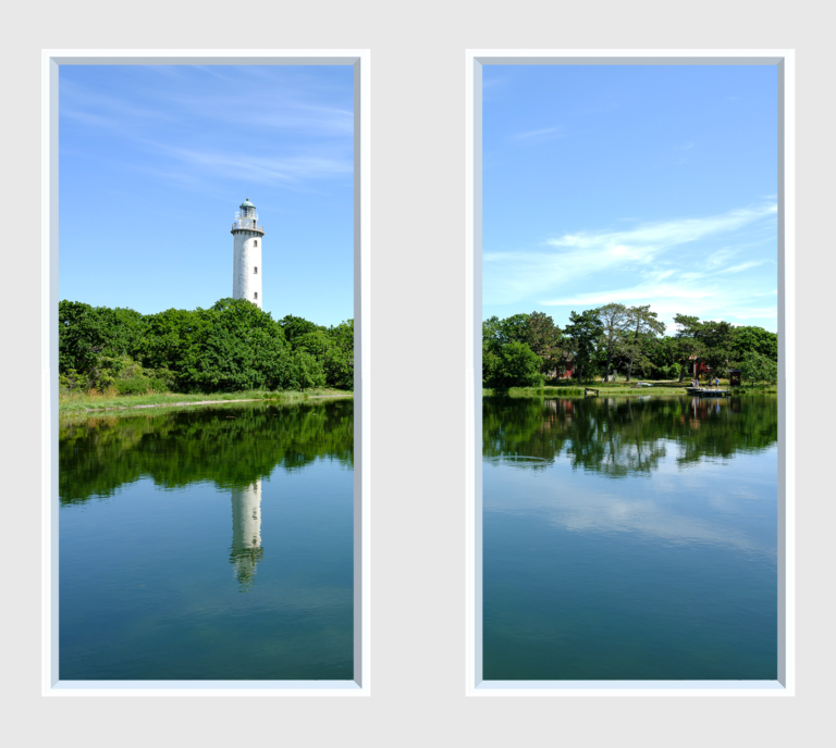 Two window panels with a lighthouse reflection in the water