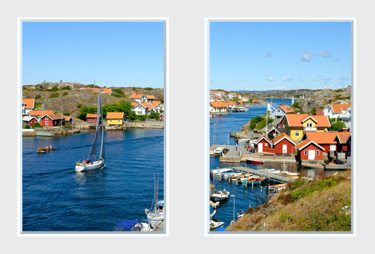 Twin window panels of a seaside town featuring boats and colourful houses
